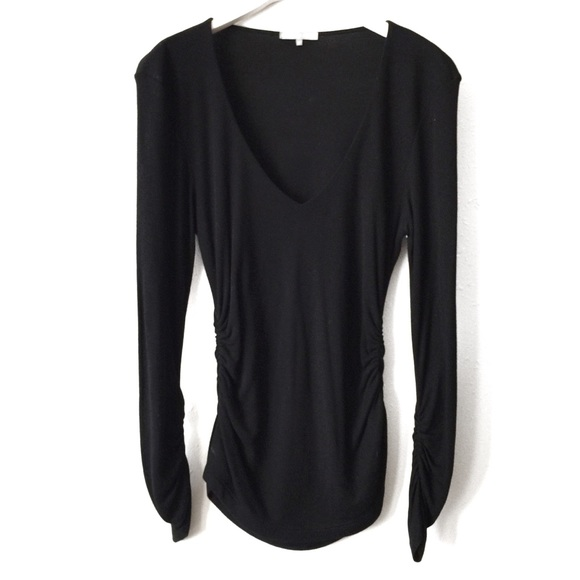 ba64393d025ee0 James Perse Tops | Black Ribbed V Neck Long Sleeve Tee M | Poshmark